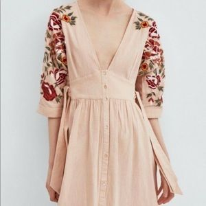Zara TRF Embroidered Floral Dress Size Small